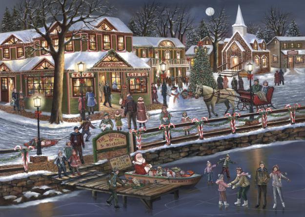 Box Christmas Village Christmas Cards