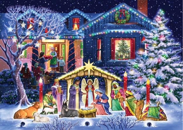 Box Nighttime Nativity Christmas Cards