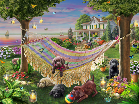 Puppies & Butterflies Jigsaw Puzzle