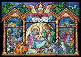 Box Stained Glass NativityChristmas Cards