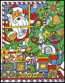 Smiling Santa Color Your Own Advent Calendar