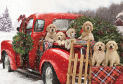 Puppies Holiday Ride Jigsaw Puzzle