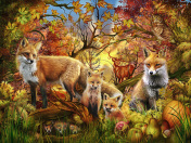 Autumn Foxes Jigsaw Puzzle