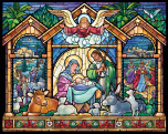 Stained Glass Nativity Jigsaw Puzzle