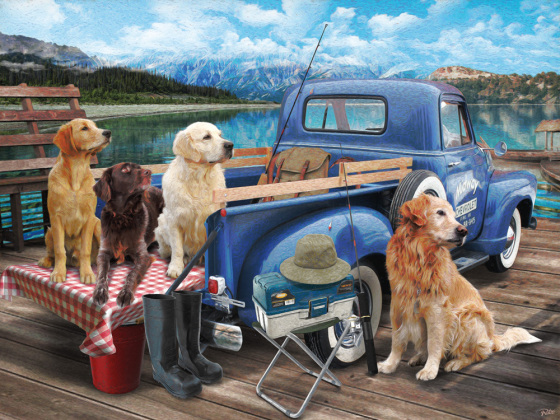 Dogs Gone Fishing Jigsaw Puzzle