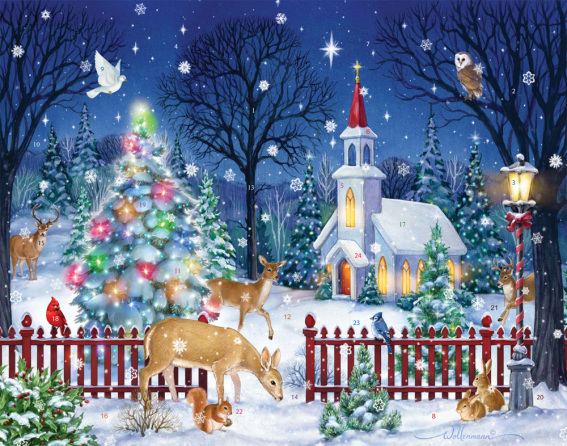 Christmas In Vermont.Peaceful Night Advent Calendar Large Religious Vermont