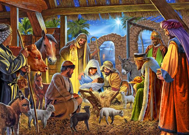 Joyous Nativity Christmas Card