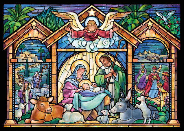 Stained Glass Nativity Christmas Card