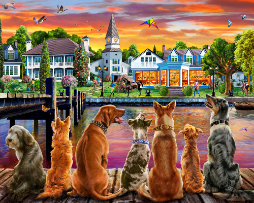 Dockside Dogs Jigsaw Puzzle