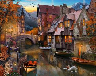 Autumn Canal Jigsaw Puzzle