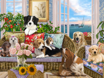 Dogs on the Sofa Jigsaw Puzzle