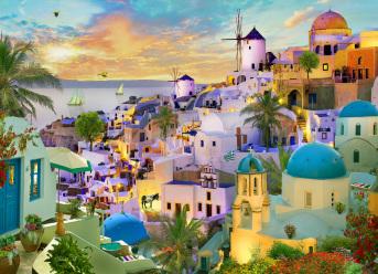 Santorini Sunset Jigsaw Puzzle