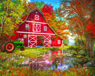 Autumn at the Old Barn Jigsaw Puzzle