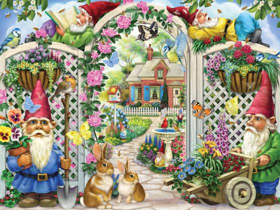 Springing Up Gnomes Jigsaw Puzzle