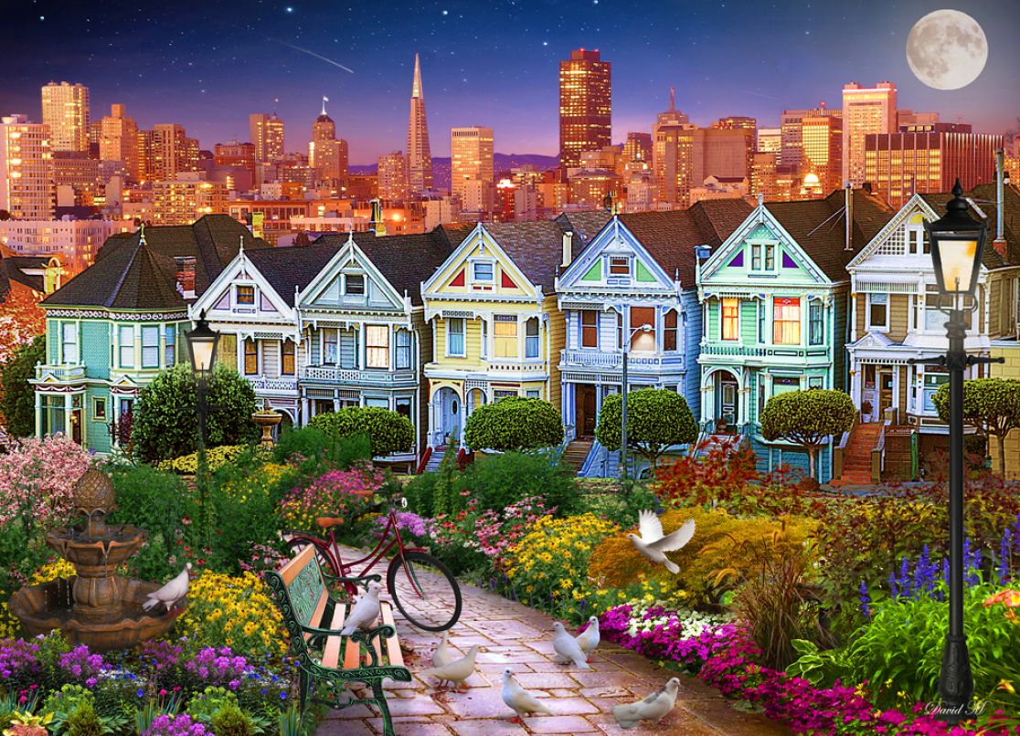 Painted Ladies of San Francisco Jigsaw Puzzle , 1000 Piece