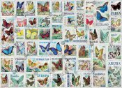 Butterflies Vintage Stamps Jigsaw Puzzle