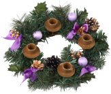 Purple Ribbon Advent Wreath