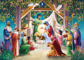 Magi at the Manger Christmas Card