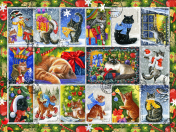 Christmas Cat Stamps Jigsaw Puzzle