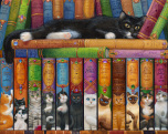 Cat Bookshelf Jigsaw Puzzle