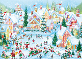 Elf Village Christmas Card