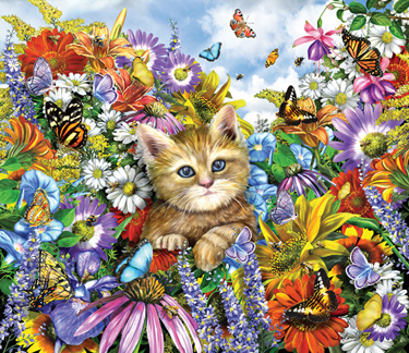 Kitty in the Garden Jigsaw Puzzle
