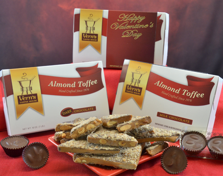 2 lb Almond Toffee Duo with Happy Valentine's Day band and 6-piece Almond Clusters