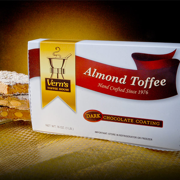1 lb Dark Chocolate Almond Toffee Box