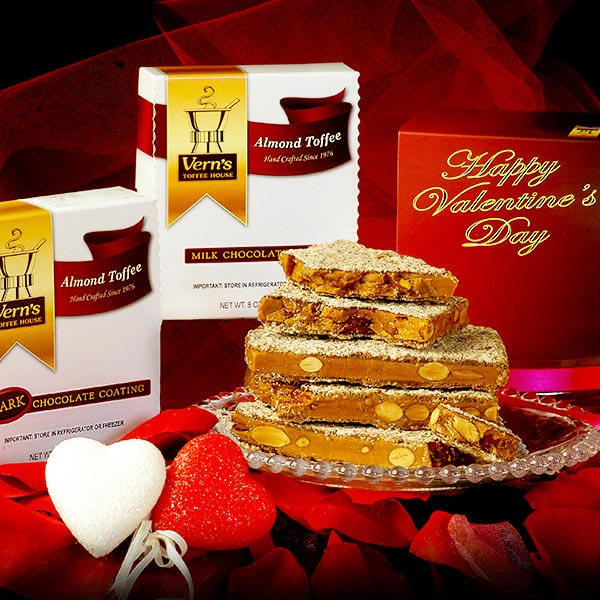 1 lb Almond Toffee Duo with Happy Valentine's Day band