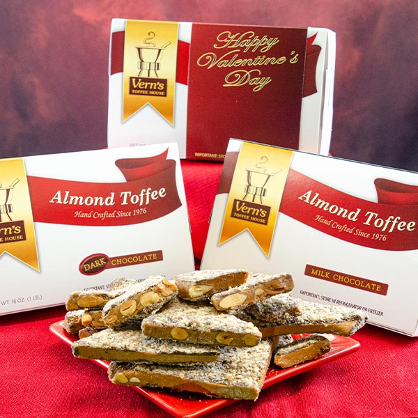 2 lb Almond Toffee Duo with Happy Valentine's Day band