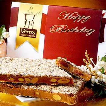 1 lb Happy Birthday Toffee Box Dark Chocolate
