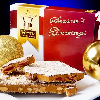 1 lb Seasons Greetings Toffee Box Dark Chocolate