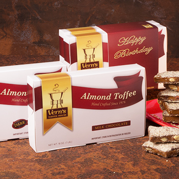 2 lb Almond Toffee Duo with Happy Birthday band