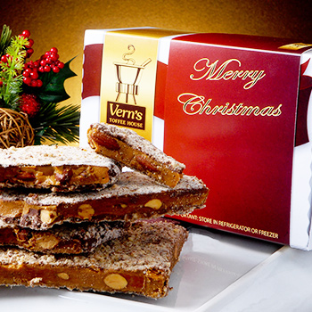 2 lb Merry Christmas Toffee Box Dark Chocolate
