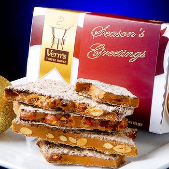 2 lb Seasons Greetings Toffee Box Dark Chocolate