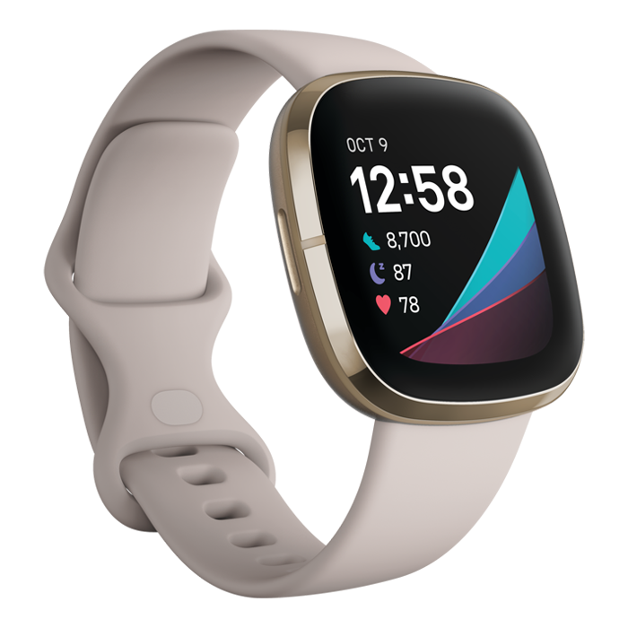 Fitbit Sense (Lunar White/Soft Gold Stainless Steel)