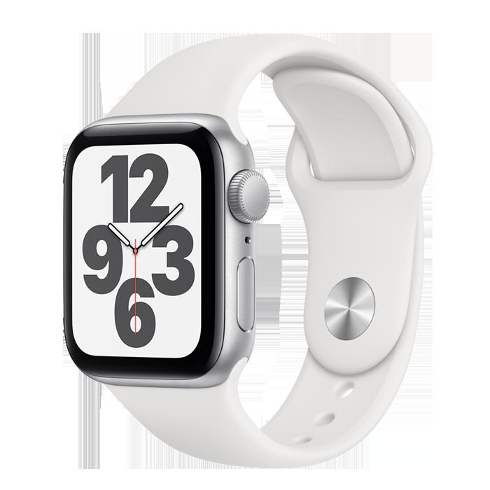 Apple Watch SE GPS 40mm Silver Case w/White Sport Band