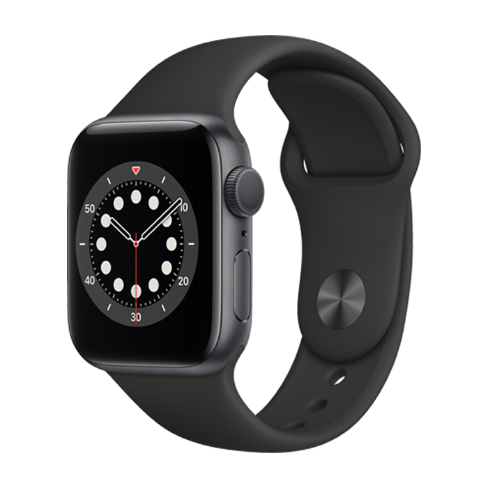 Apple Series 6 GPS 44mm Space Gray Case w/Black Sport Band