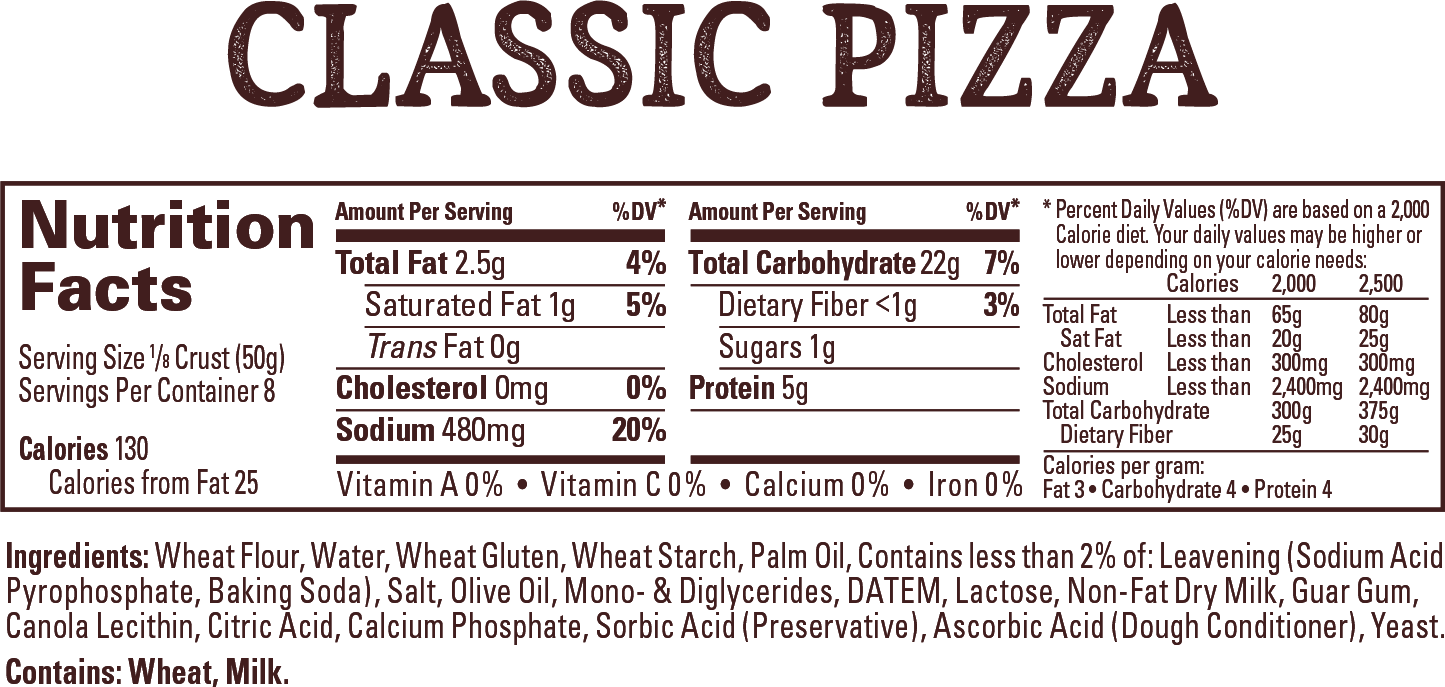 Wewalka Classic Pizza Dough - Nutrition Facts