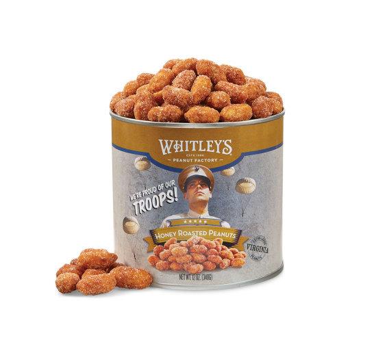 Two 12 oz. Tins Honey Roasted Virginia Peanuts