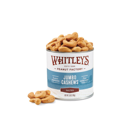 Case 20 - 5.5 oz. Tins Salted Jumbo Cashews