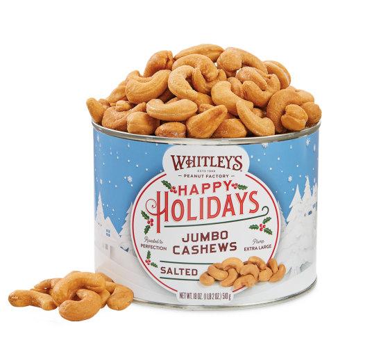Case 12 - 18 oz. Tins Holiday Salted Jumbo Cashews