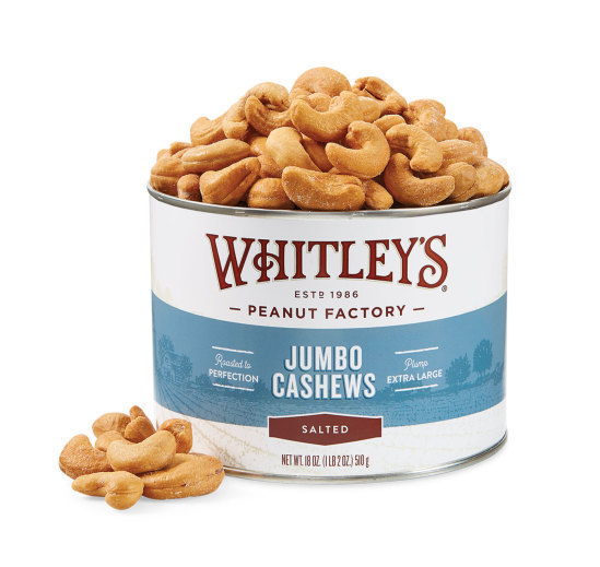 Case 12 - 18 oz. Tins Salted Jumbo Cashews