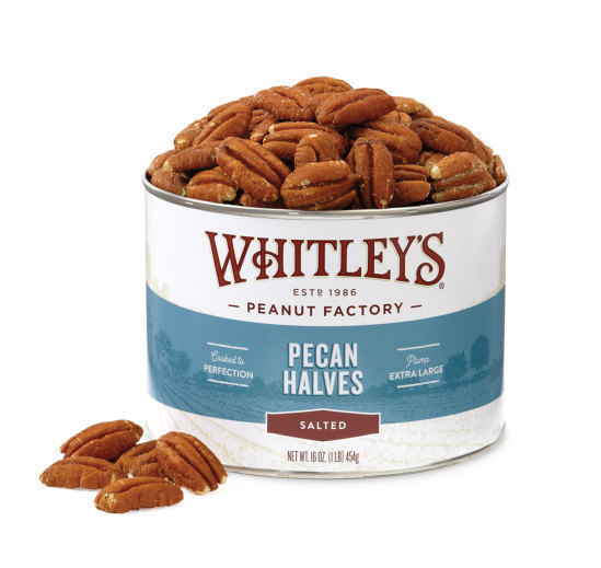 Case 12 - 16 oz. Tins Salted Pecan Halves
