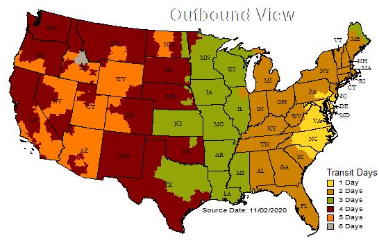 UPS Transit Time Map