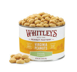 New! Case 12 - 20 oz. Tins Wasabi Ginger Virginia Peanuts