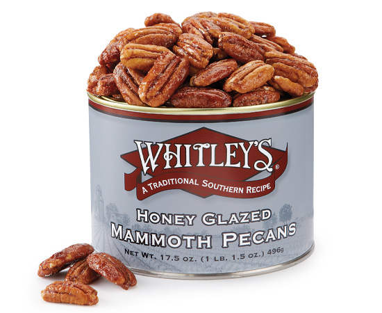 Case 12 - 17.5 oz. Tins Honey Glazed Mammoth Pecans