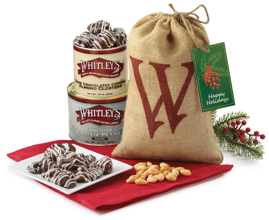 "Holiday ""W"" Burlap Gift Bag"
