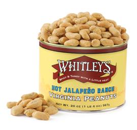 Case 12 - 20 oz. Tins Hot Jalapeño Ranch Virginia Peanuts