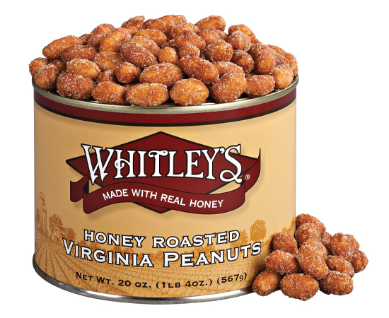Case 12 - 20 oz. Tins Honey Roasted Virginia Peanuts